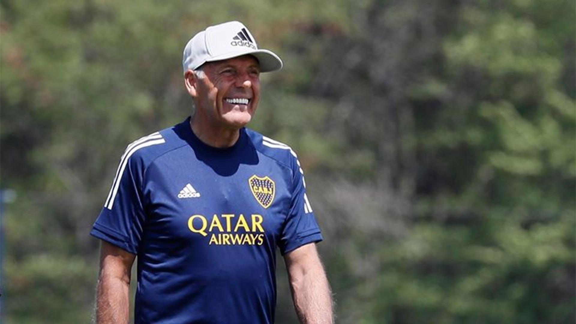 Russo, durante un entrenamiento de Boca.