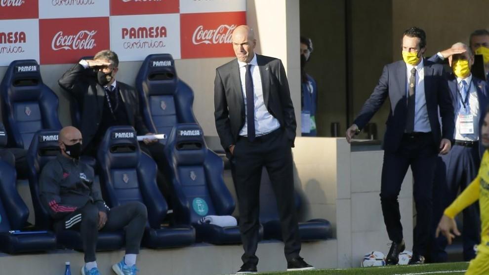 Zinedine Zidane durante el partido contra el Villarreal.