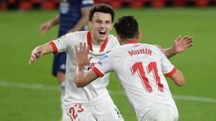 Munir celebra su gol decisivo ante el Krasnodar