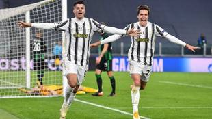 Morata celebra el gol del triunfo de la Juventus