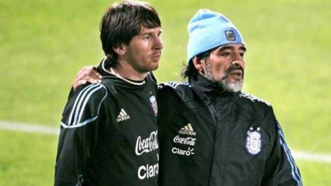 Messi y Maradona, en Argentina.