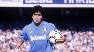 Diego Armando Maradona, en su etapa en el Nápoles