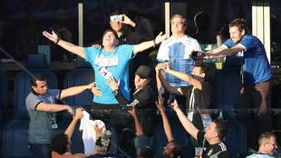 Maradona, en trance viendo a Argentina en el Mundial de Rusia 2018