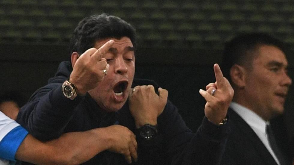 Maradona, durante un partido de Argentina en el Mundial de Rusia 2018