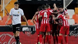 Así celebraron los jugadores del Atlético el gol de la victoria ante...