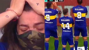 El momento en el que los jugadores celebran el gol de Cardona junto a...