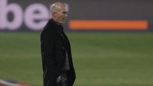 Zidane, en un partido con el Real Madrid.