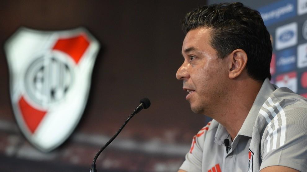 Marcelo Gallardo, durante una conferencia.