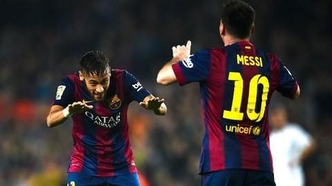 Neymar y Messi celebran un gol en el Barcelona