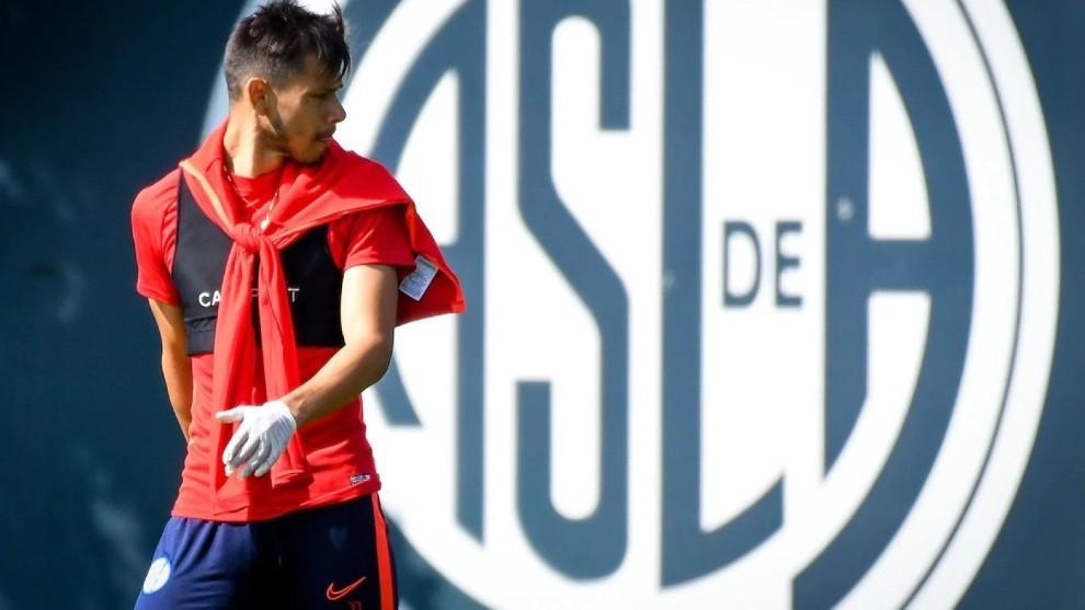 Ángel Romero, en un entrenamiento de San Lorenzo