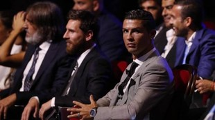 Cristiano Ronaldo y Messi, en una gala de la UEFA