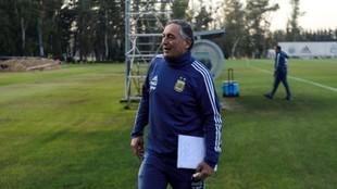 Carlos Borrello, durante un entrenamiento en el predio de la AFA,