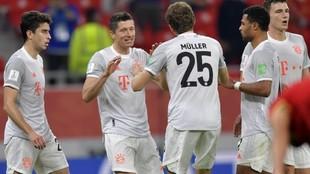 Los jugadores del Bayern celebran un gol.