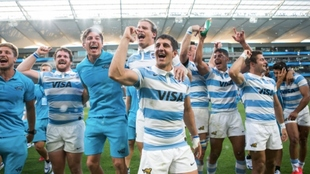 Los Pumas celebran su hazaña contra los All Blacks.