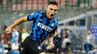 Lautaro celebra un gol en Inter.
