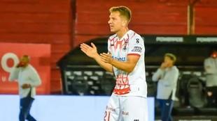 Esteban Rolón, durante un partido de Huracán