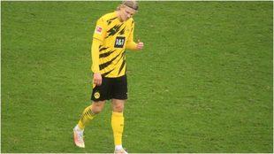 Haaland, durante un partido con el Dortmund.