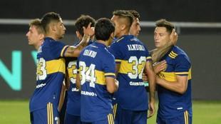 La celebración de los jugadores en el primer gol.