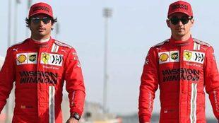 Charles Leclerc y Carlos Sainz, compañeros en Ferrari