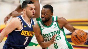 Campazzo intenta frenar a Demba Walker, de los Celtics.