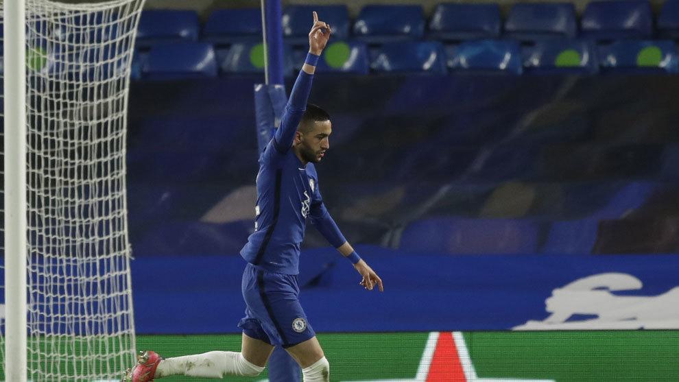Ziyech celebra el gol del Chelsea ante el City /