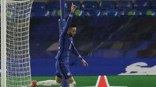 Ziyech celebra el gol del Chelsea ante el City