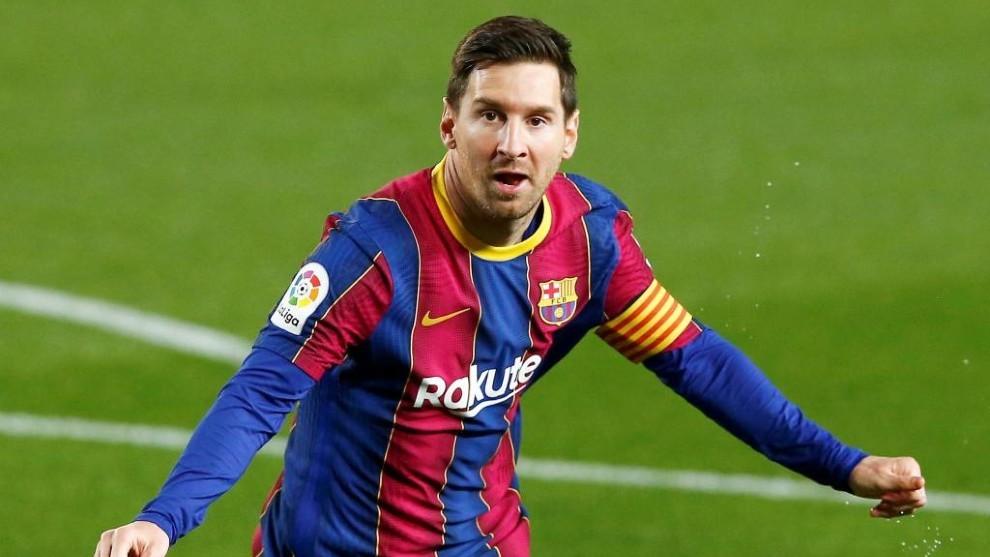 Leo Messi celebra uno de sus goles.