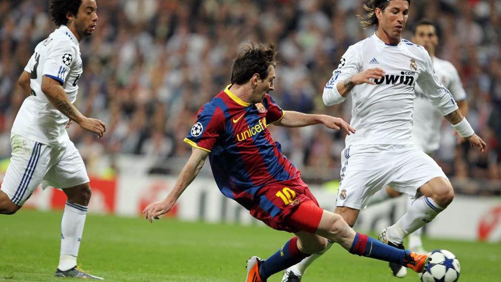 Messi marca ante el Real Madrid en la Champions