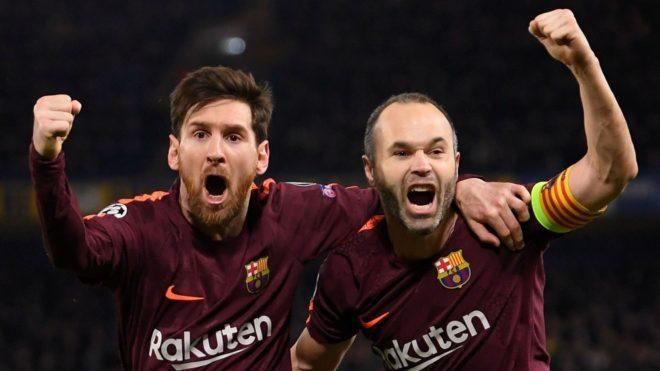 Iniesta y Leo Messi.