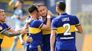 Carlos Izquierdoz convirtió el gol del triunfo para Boca ante Lanús