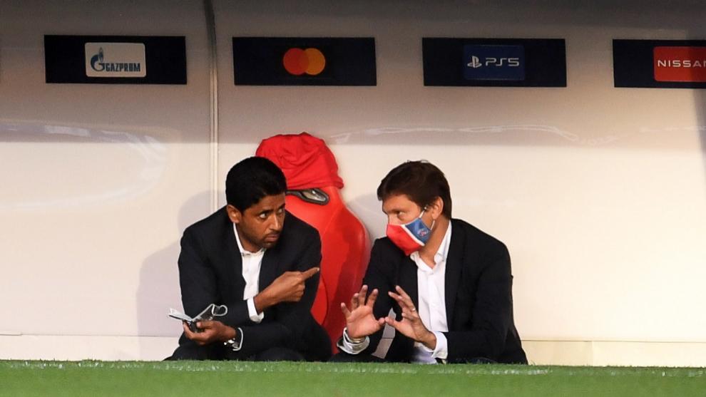 Leonardo charla junto al presidente Al-Khelaïfi