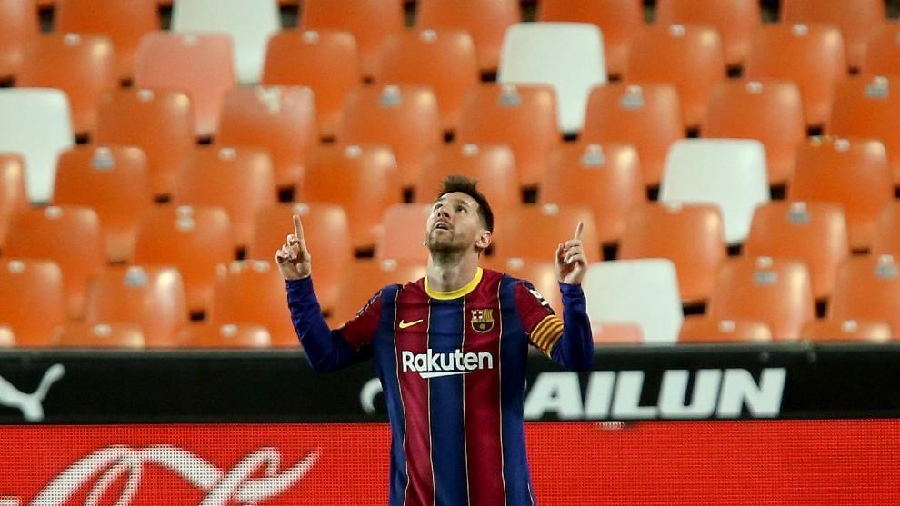 Messi marcó dos goles ante el Valencia