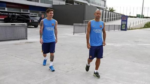 Messi y Mascherano, en un entrenamiento del Barcelona