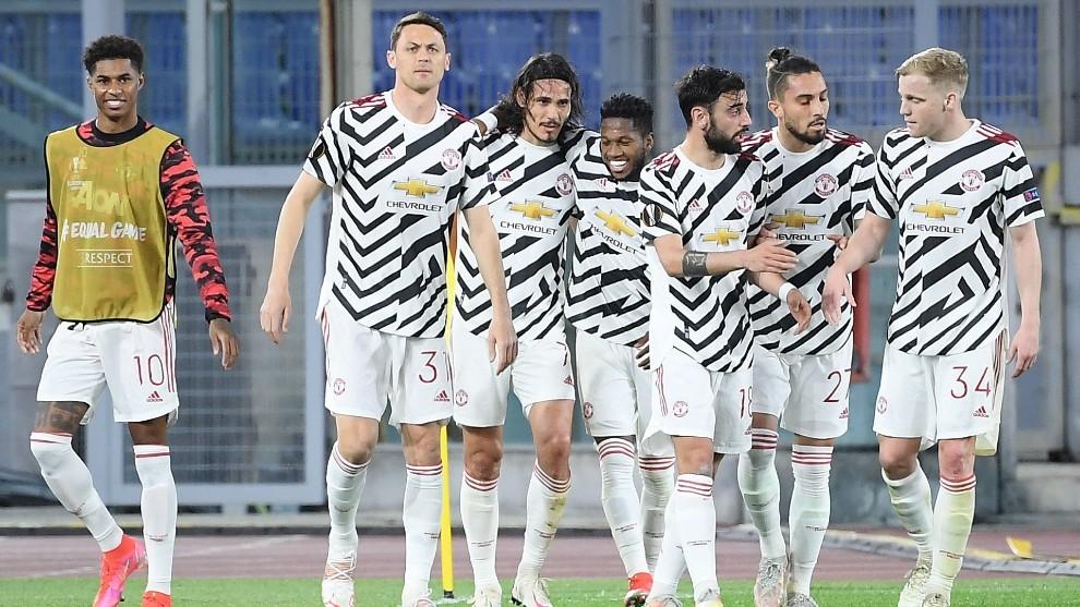 Los jugadores del Manchester United celebrando un gol ante la Roma