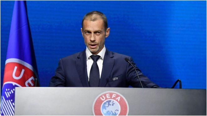 Ceferin, presidente de la UEFA, en un acto.
