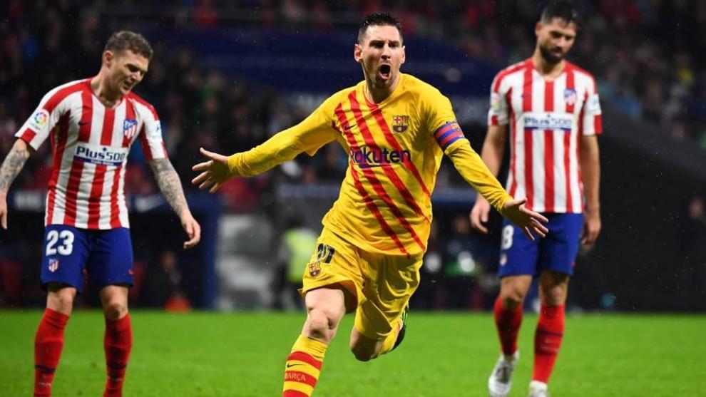 Leo Messi celebrando un gol ante el Atleti.