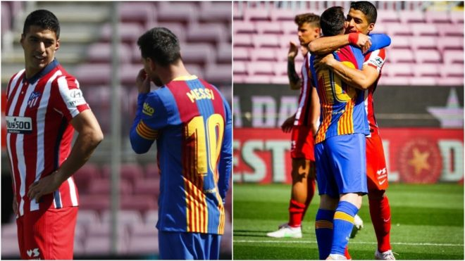 Dos momentos de Messi y Luis Suárez antes del comienzo del Barcelona...