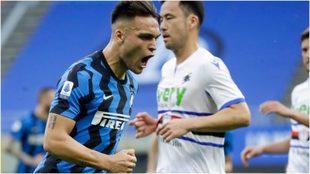 Lautaro festeja su gol, el quinto del Inter ante la Sampdoria.