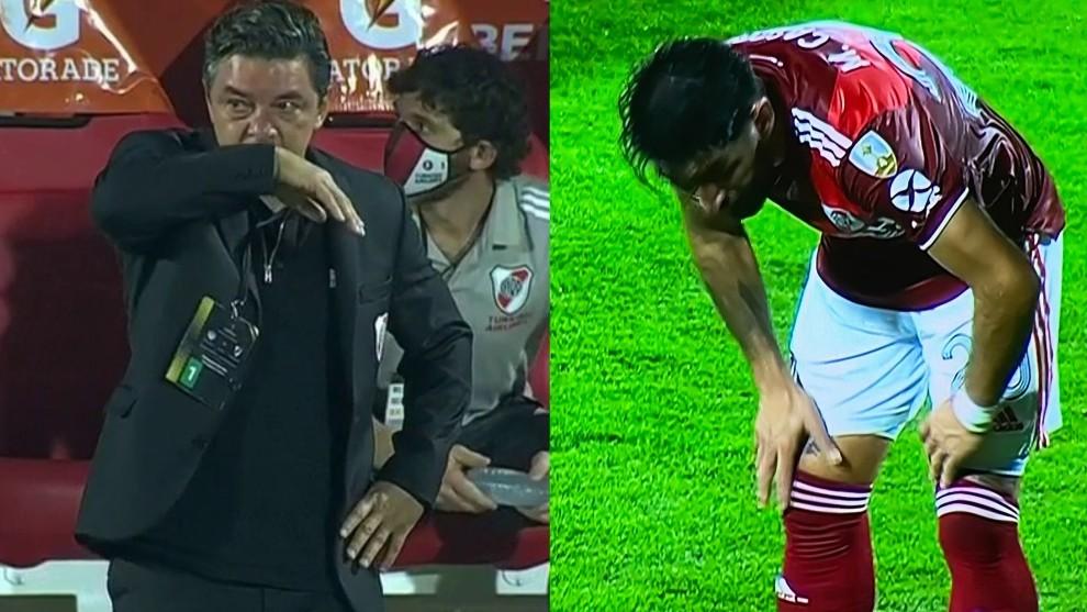 Gallardo, visiblemente afectado, y Casco, además de otros jugadores.