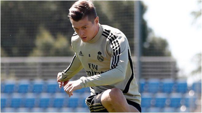Kroos, en un entrenamiento del Real Madrid.