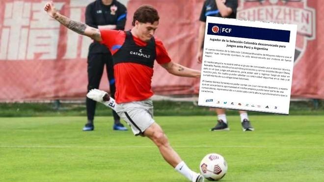 Juanfer Quintero golpea a la pelota y en el recuadro, el comunicado de...