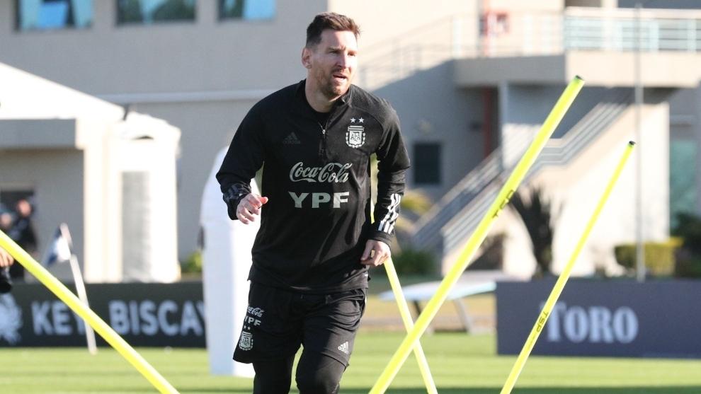 Leo Messi, entrenando.