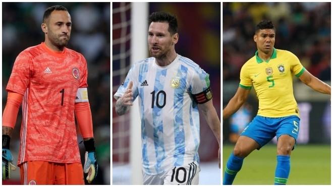Ospina, Messi y Casemiro, los líderes de sus respectivas selecciones.