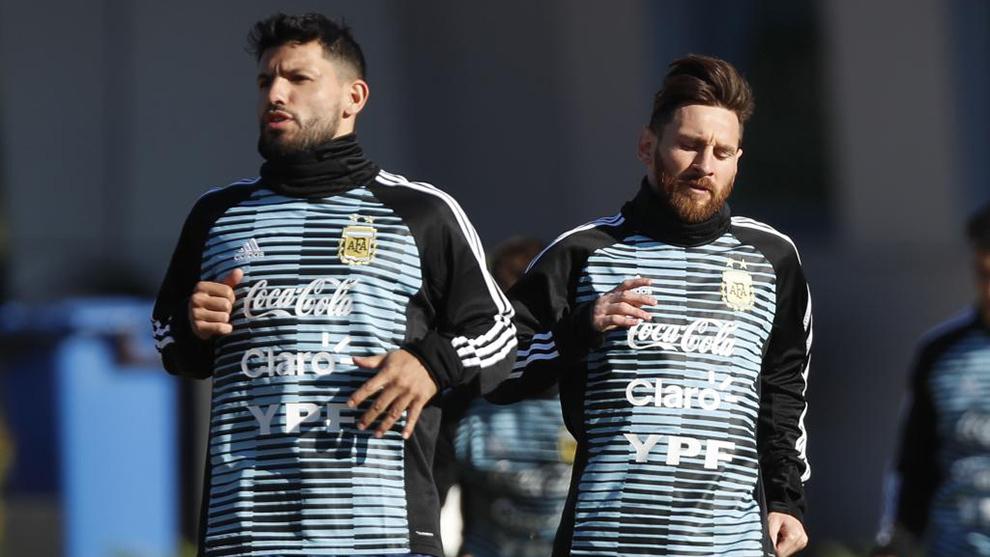 Agüero y Messi, en una imagen de archivo con Argentina.