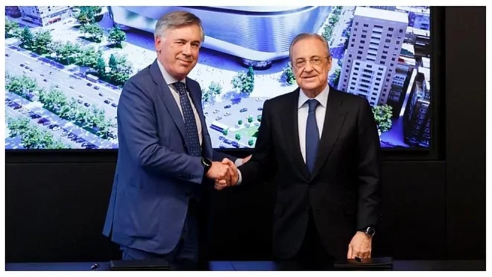 Ancelotti junto a Florentino Pérez.