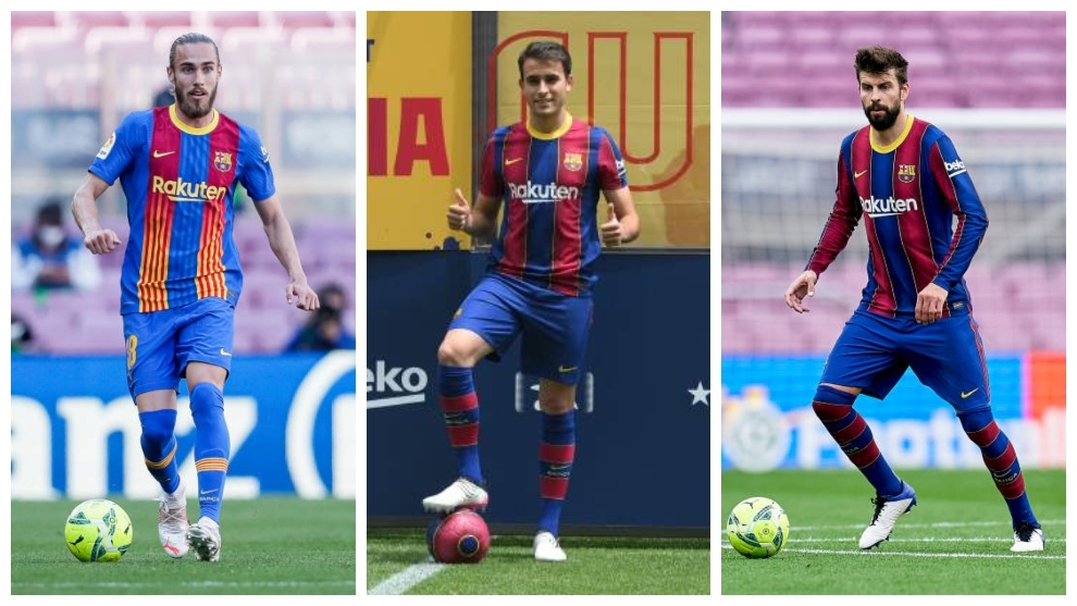 Óscar Mingueza (22), Eric García (20) y Gerard Piqué (34).
