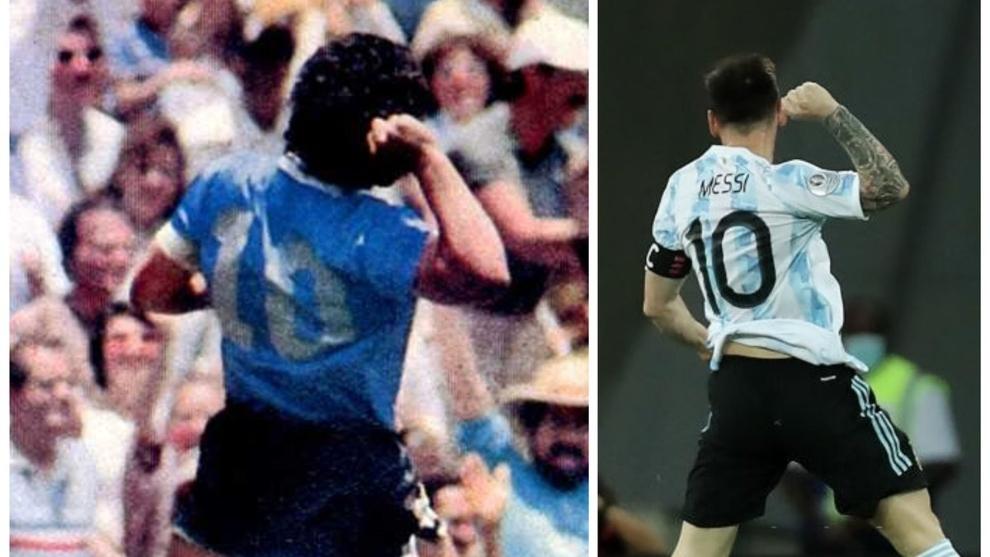 El icónico festejo de Maradona 'copiado' por Messi en el Nilton...