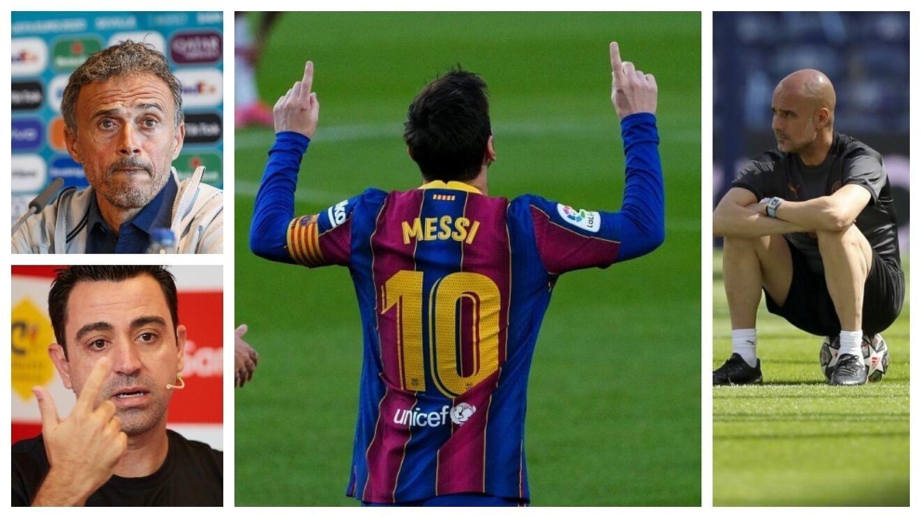 Un montaje con imágenes de Messi, Luis Enrique, Pep Guardiola y Xavi Hernández..