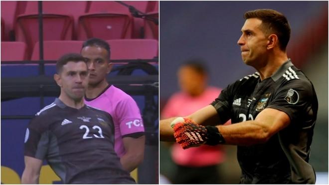 Emiliano Martínez atajó tres penales en el Argentina vs Colombia