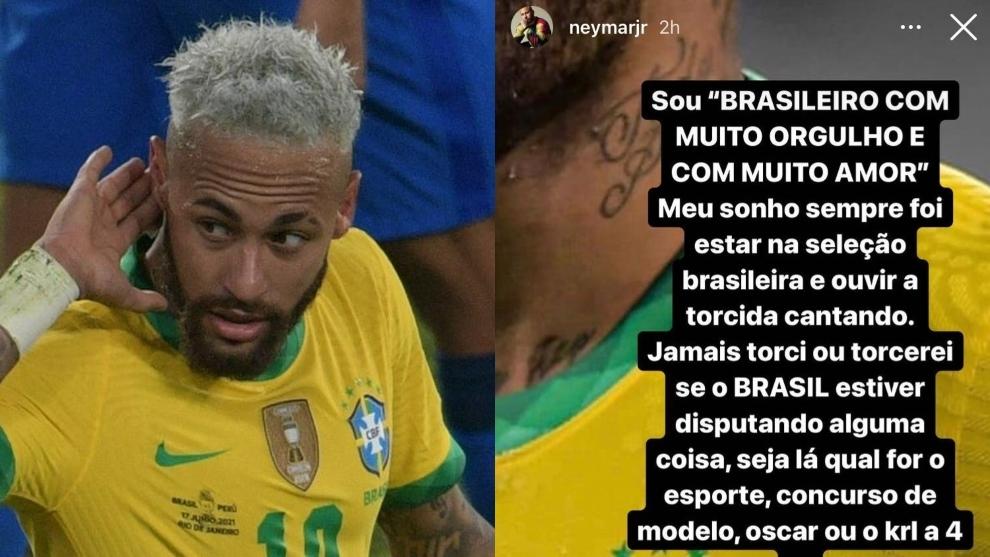 Neymar se manifestó vía Instagram.